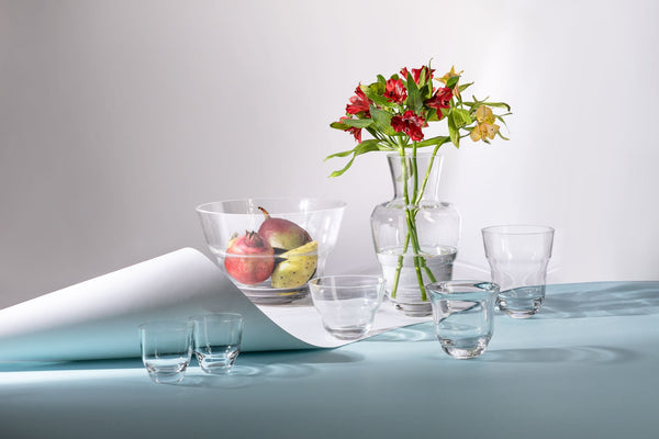 Beautiful Cloudless clear Glassware with flowers, fruits and sunlight