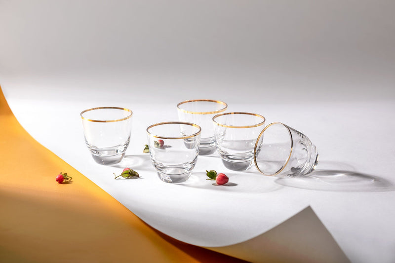 Golden Lux Espresso Cups with white and yellow background