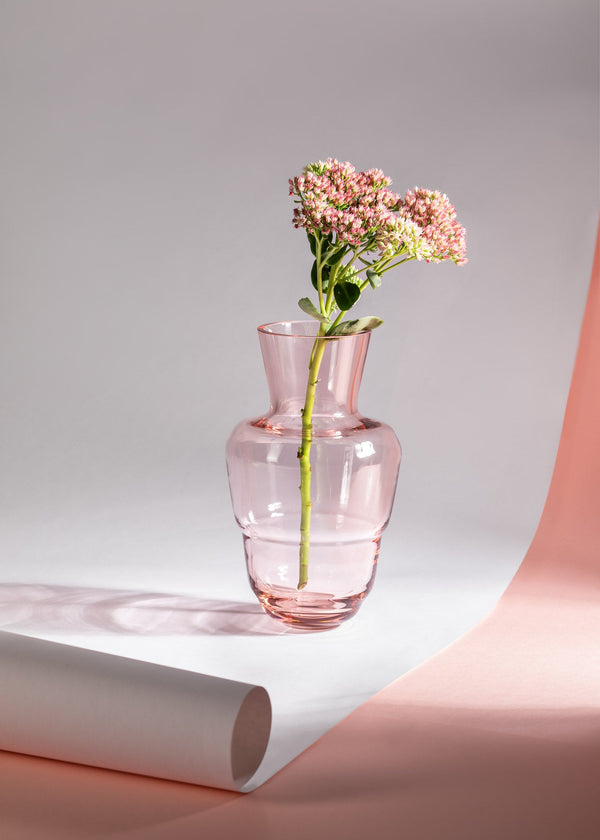 Suede Pink Shadows Vase with flower kissed by the sun
