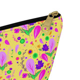 Yellow Floral -Accessory Pouch w T-bottom