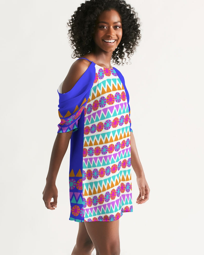 Tribal Floral Women's Open Shoulder A-Line Dress