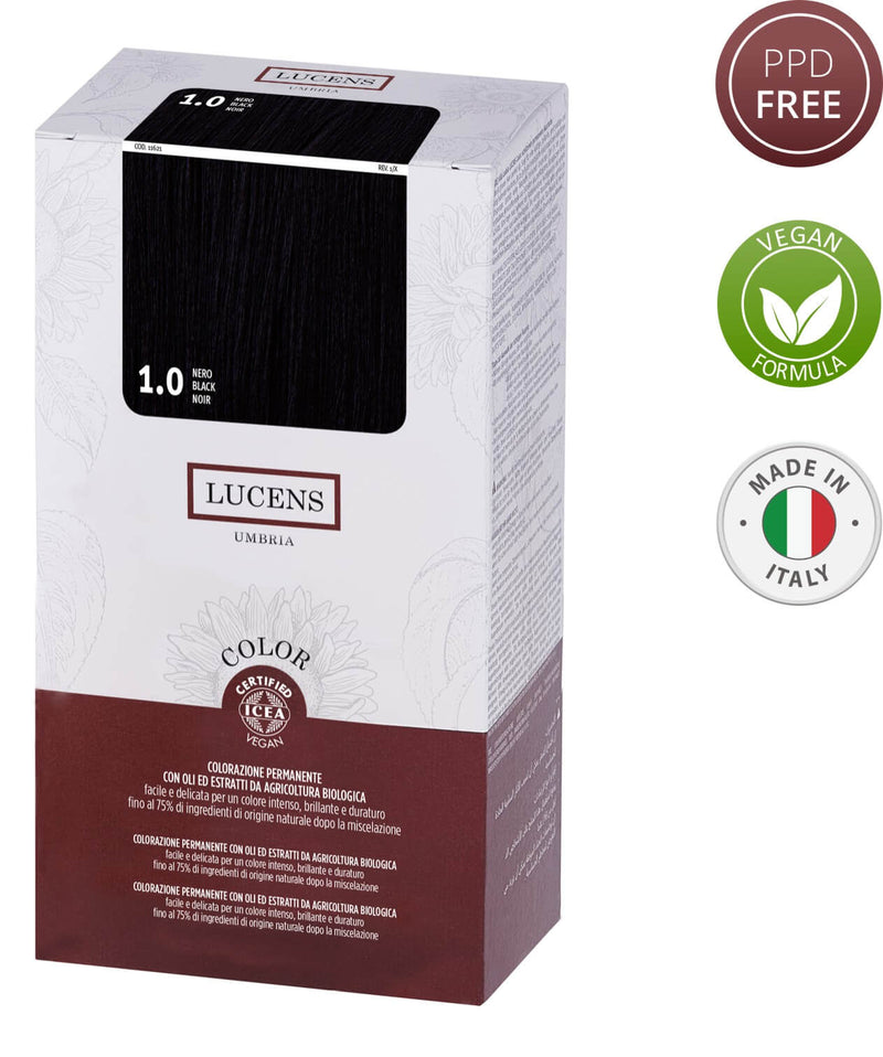 Lucens Hair Color Black 1.0 Free from PPD and Made in Italy