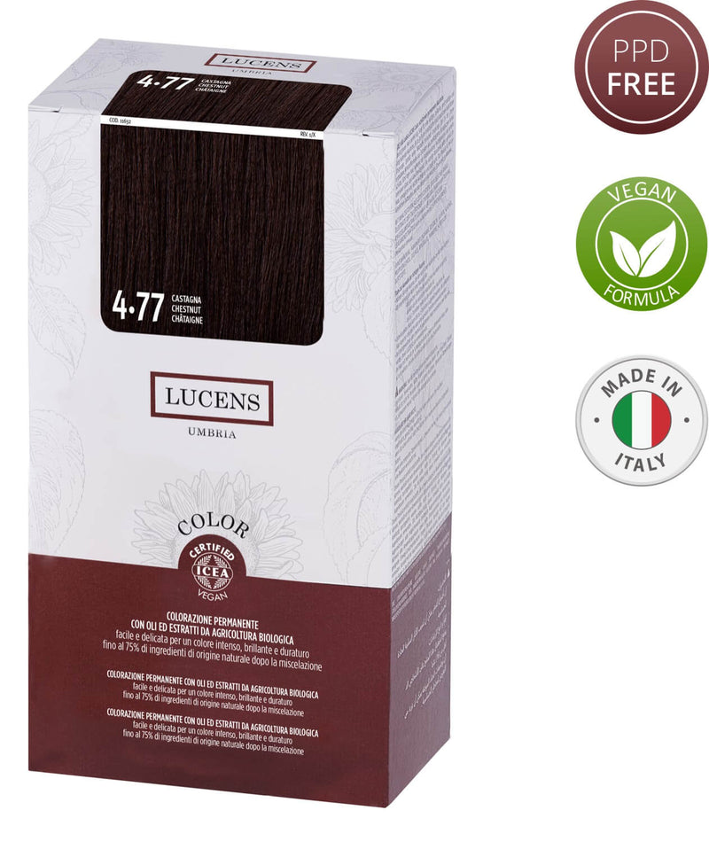 Lucens Hair Color Chestnut 4.77  Made in Italy