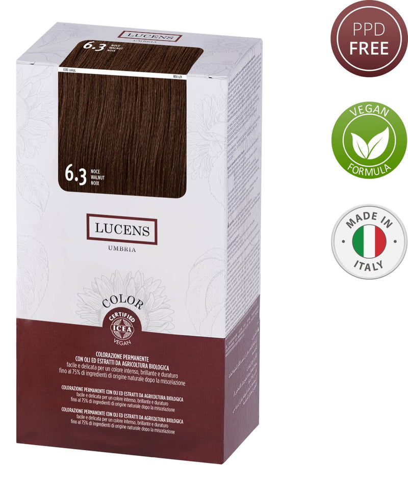 Lucens Hair Color Walnut 6.3 Free from PPD Ammonia, Resorcinol, Silicones, Alcohol, SLS- SLES, Mineral Oils, Parabens & Synthetic Fragrance