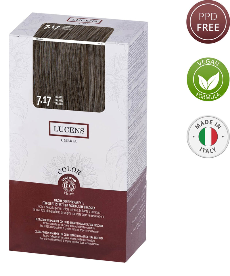 Lucens Hair Color Tiramisu 7.17 Free from PPD Ammonia, Resorcinol, Silicones, Alcohol, SLS- SLES, Mineral Oils, Parabens & Synthetic Fragrance | For Perfect grey- white coverage ensuring utmost gentleness on Scalp and Hair Made in Italy