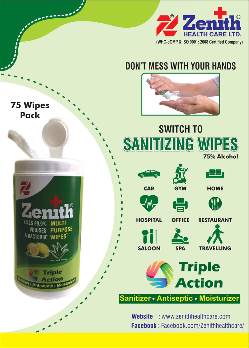 Zenith Multi Purpose Wipes -75 wipes