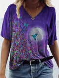 Floral Bird Moon Painting Print T-shirt