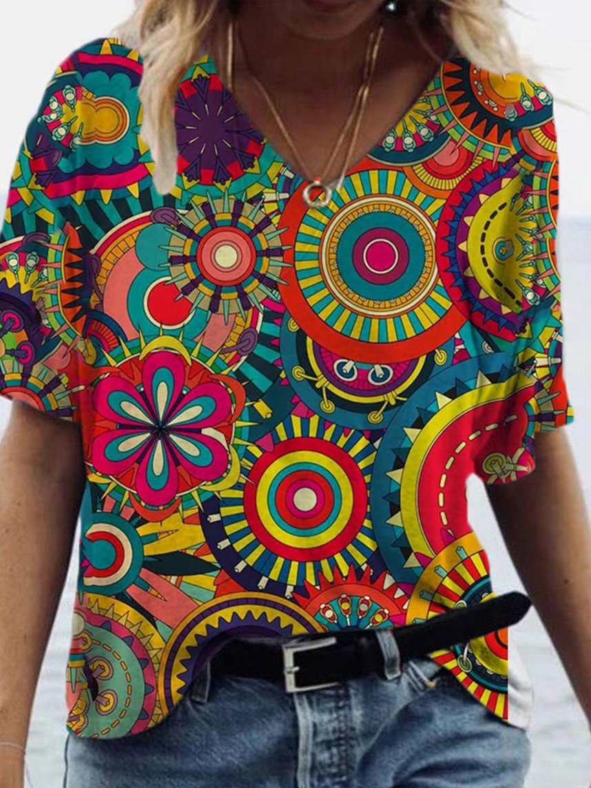 Colorful Abstract Print T-shirt