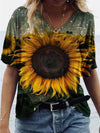 Sunflower Illustration Print T-shirt