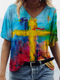 Graffiti Cross Painting Print T-shirt