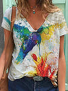 Colorful Bird Ink Print T-shirt