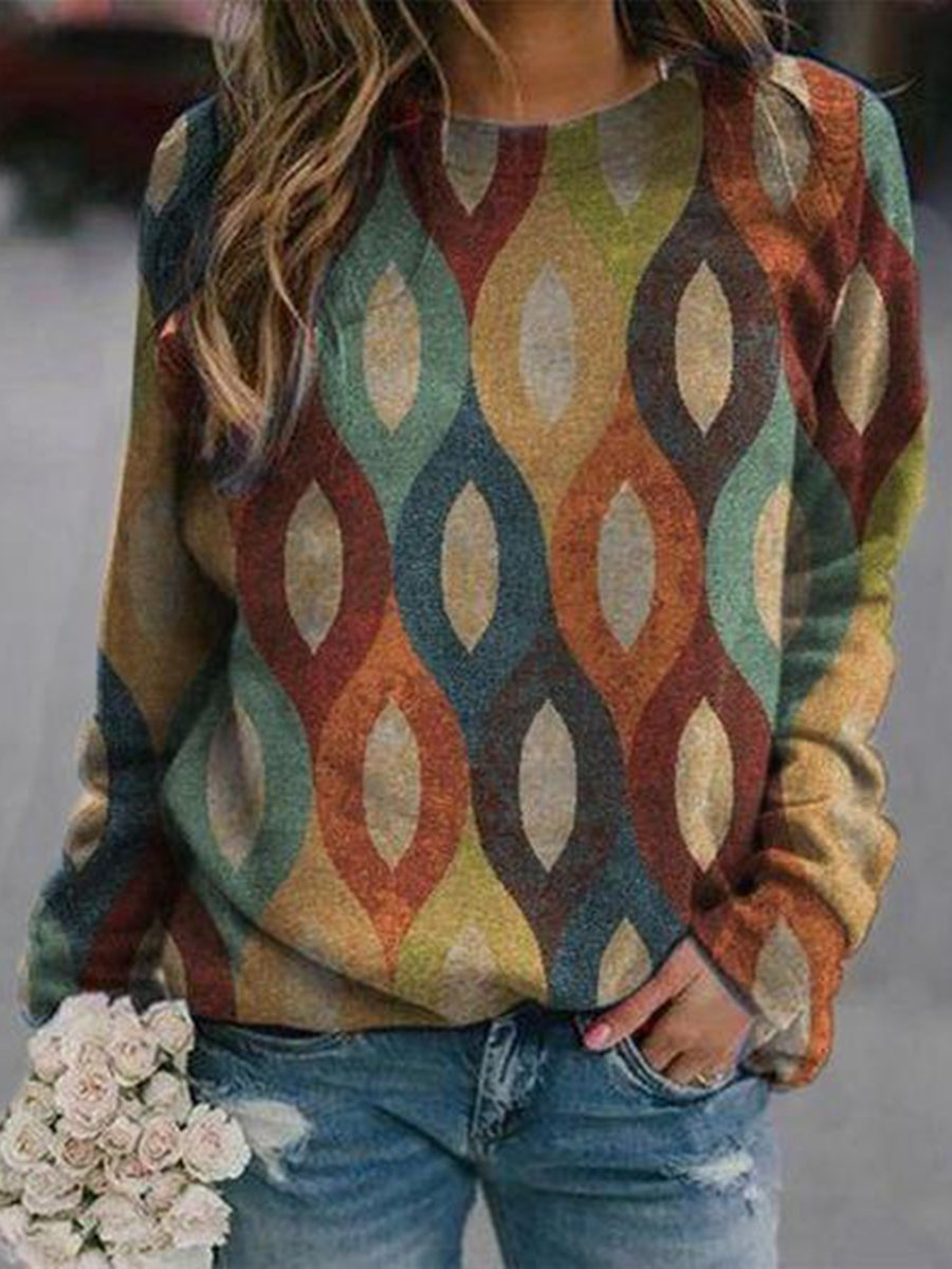 Colorful Geometry Print Sweatshirt
