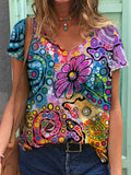 Colorful Abstract Flower Print T-shirt