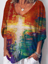 Colorful Cross Print Long Sleeve T-shirt