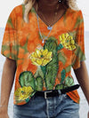 Flower Cactus Painting Print T-shirt