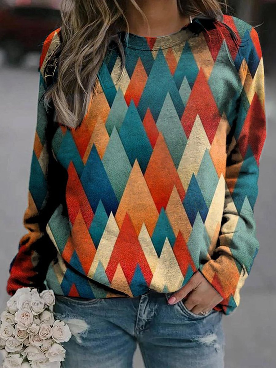 Colorful Gtriangle Print Sweatshirt