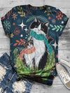 Plus Size Casual Short Sleeve Animal Shirts & Tops