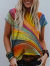 Color Gradient Flowing Line Print T-shirt