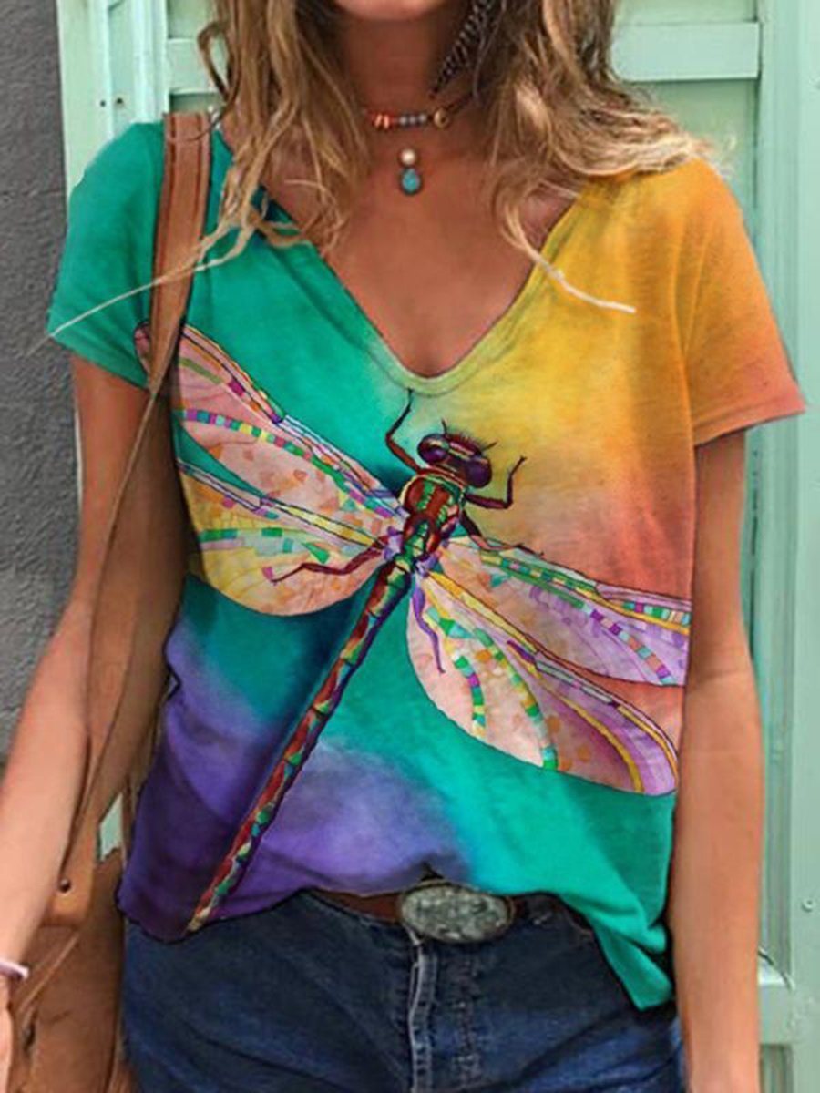 Dragonfly Gradient Painting Print T-shirt