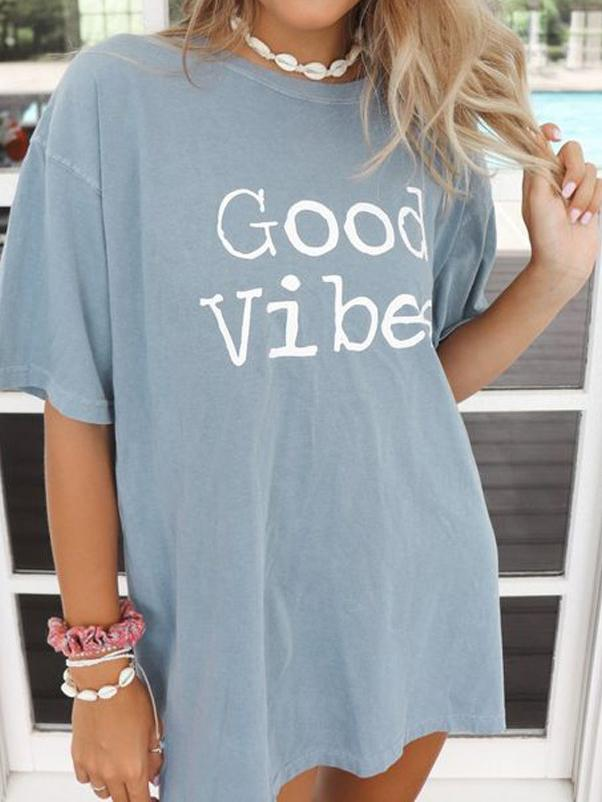 Good Vibes Letter Print T-shirt