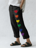 Woman's Color Heart Print Trousers