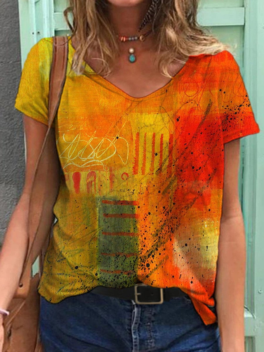 Abstract Painting Print T-shirt