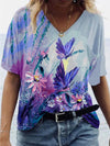 Butterfly Flower Illustration Print T-shirt