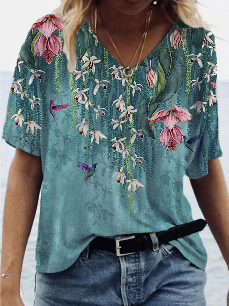 Flower Chlorophytum Bird Painting Print T-shirt