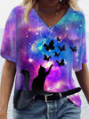 Cat Butterfly Illusion Starry Sky Painting Print T-shirt