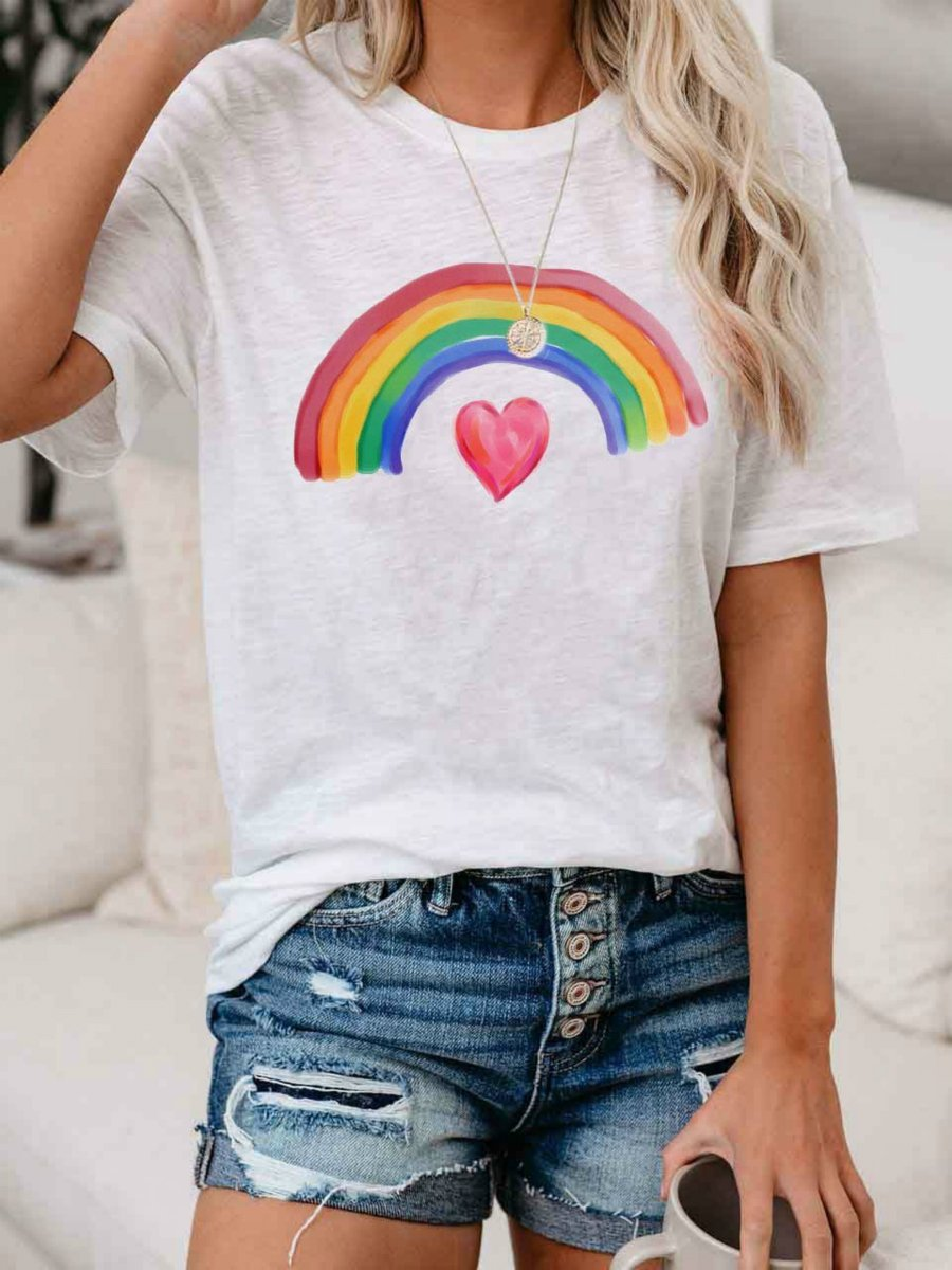 Women's Rainbow Over Heart Thank You Stay Safe T-Shirt