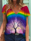 Rainbow Tree Illusion Painting Print T-shirt