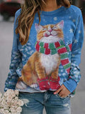 Christmas Cat Painting Print Sweatshirt