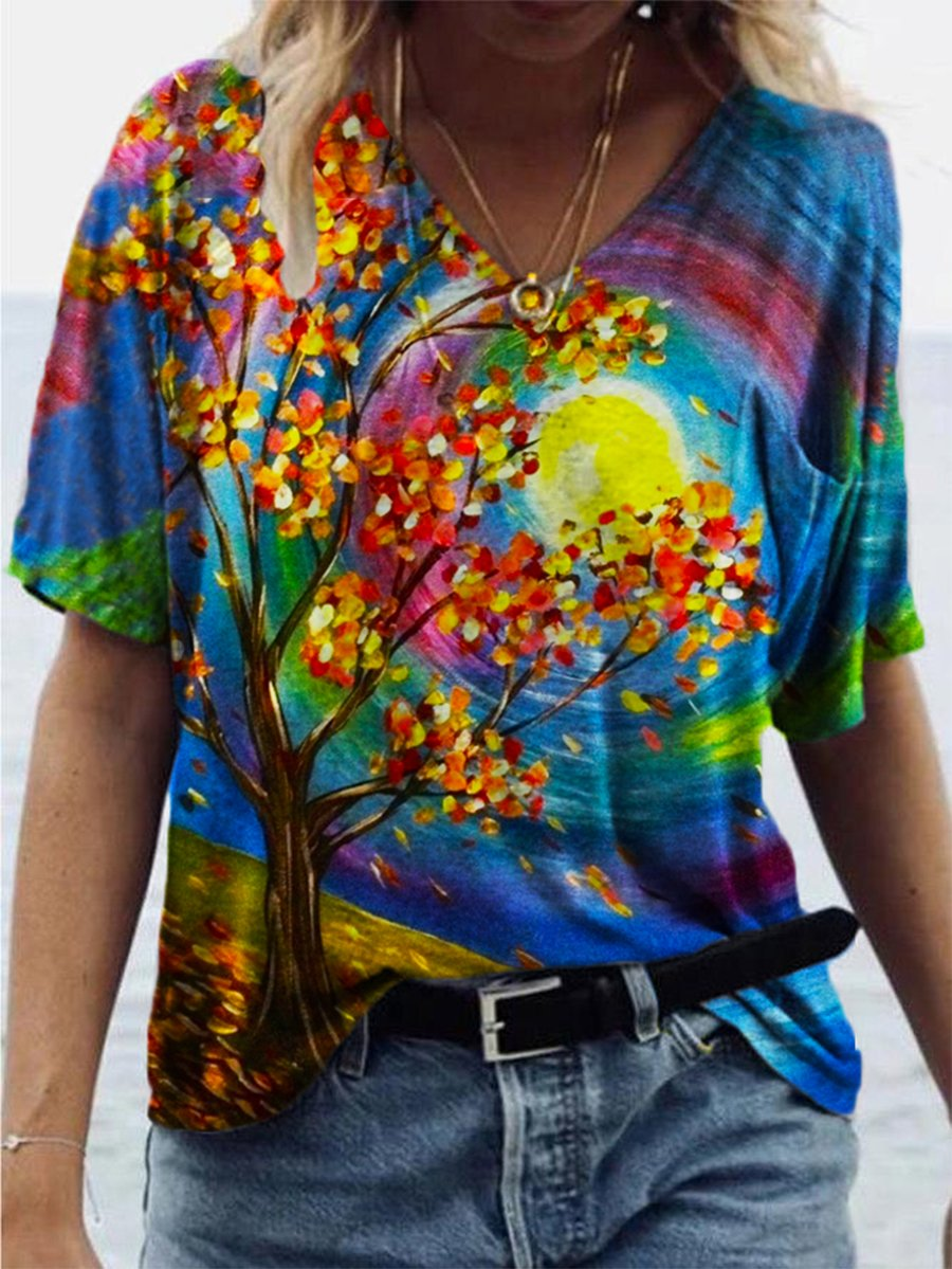 Colorful Tree Print T-shirt