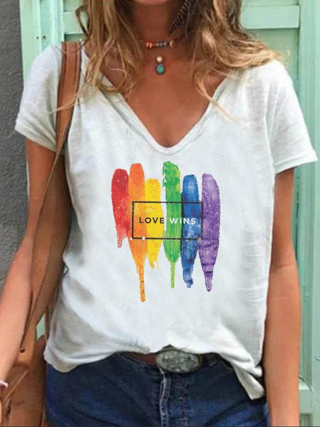 Rainbow Love Wins Casual Cotton-Blend Shirts & Tops
