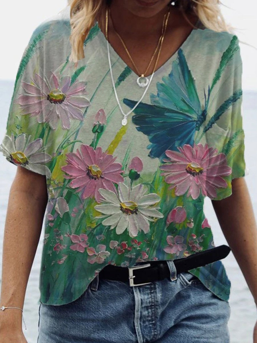 Butterfly Flower 3D Painting Print T-shirt