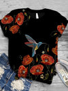 Bird Flower Painting Print T-shirt