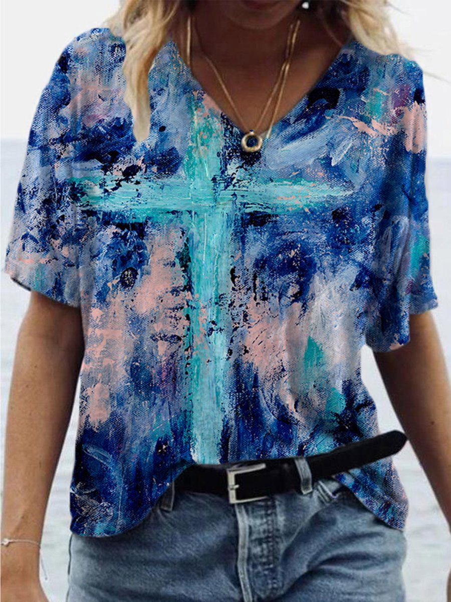 Colorful Cross Painting Print T-shirt