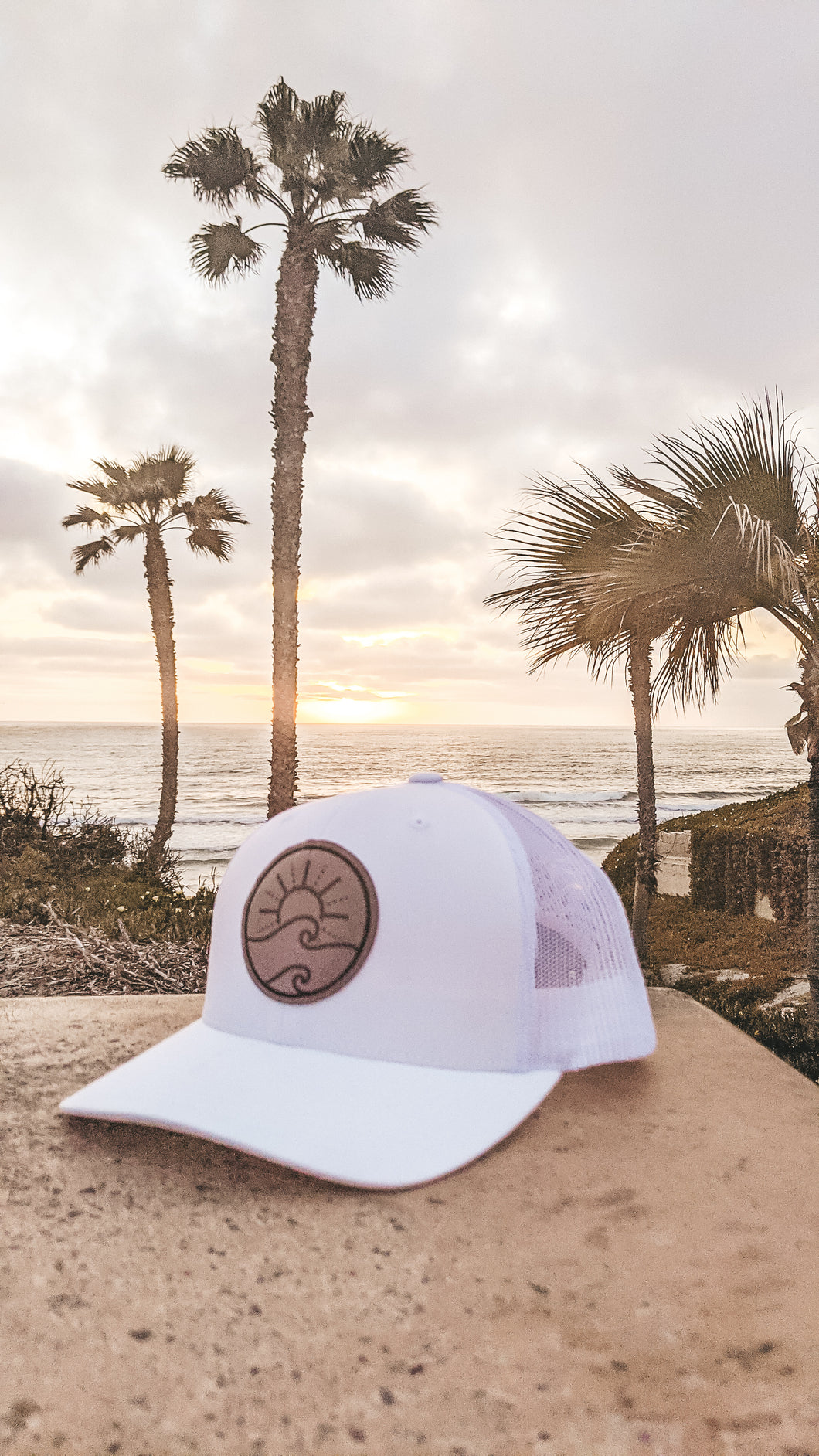 Leather Patch Trucker Hat-White