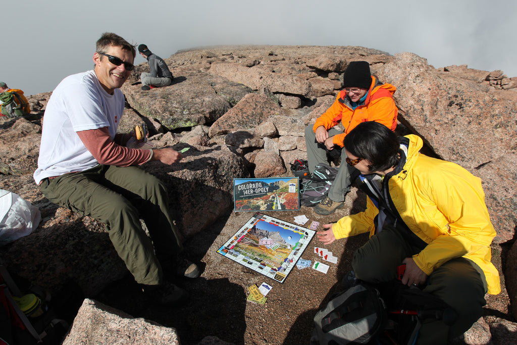 Playing Colorado 14er-opoly at 14,000 ft.