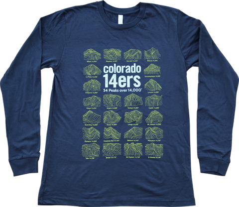 Colorado 14ers Navy Long Sleeve T-shirt