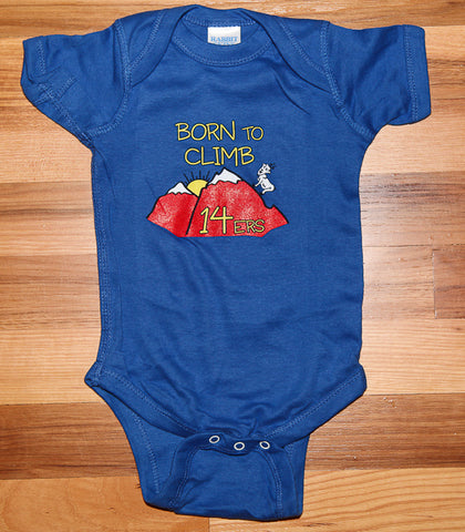 Born to Climb 14ers Baby Onesie Blue