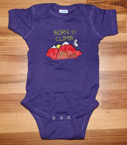 Born to Climb 14ers Baby Onesie Purple
