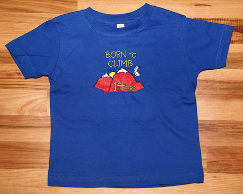 Born to Climb 14ers Toddler Shirt - Blue
