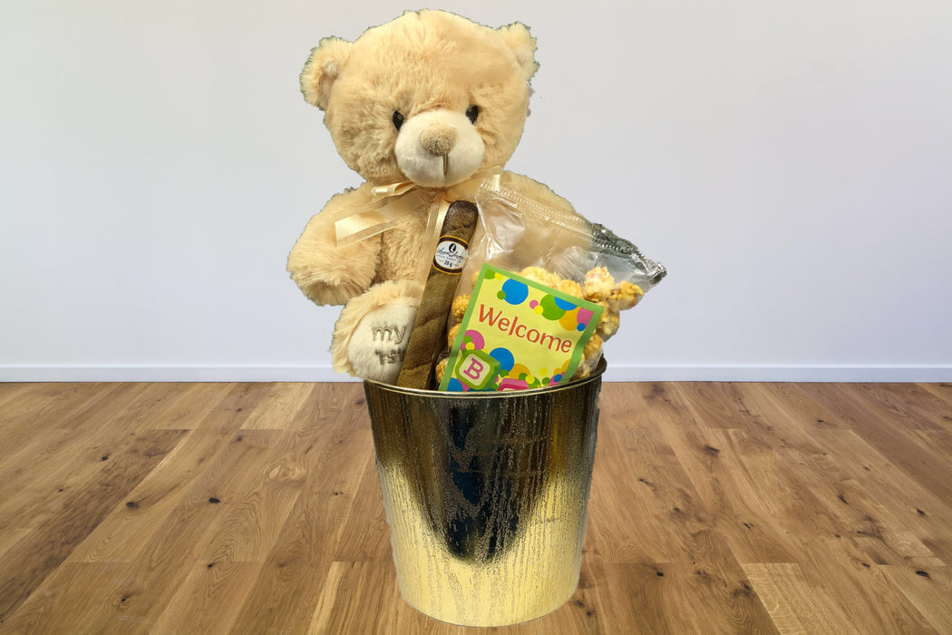 laura secord chocolate caramel popcorn soft teddy bear baby shower gift for moms and dads first baby baby wrlcoming gift baskets