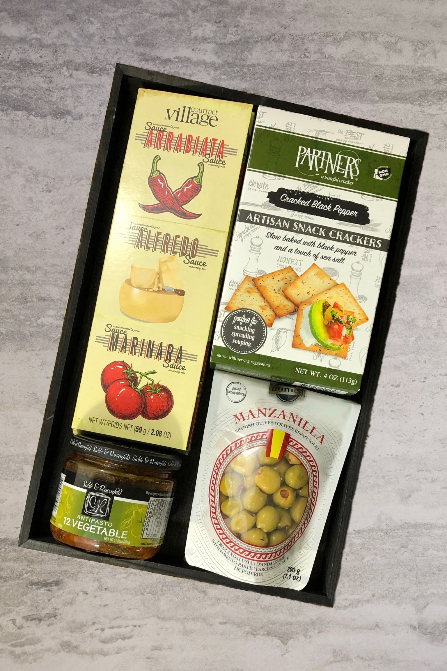 marinara sauce mix antipasto olives cheese crackers gift basket for him or her