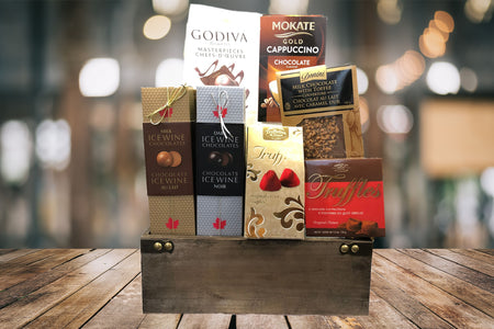 Godiva ice wine chocolate cappuccino toffee chocolate truffles gourmet gift basket