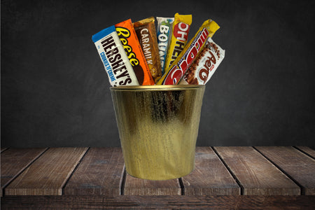 Hershey bars, Cadbury bars, Reese peanut butter, caramelgift basket ideas