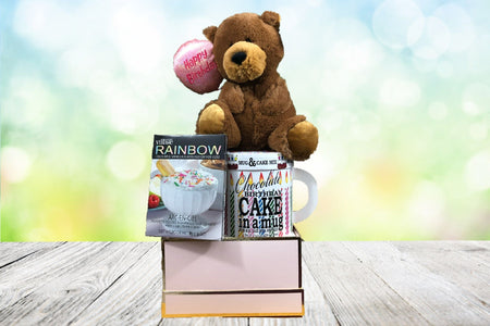 Deluxe birthday bear plush with chocolate cake and vanill cream dip gift basket