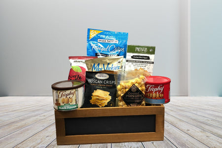 Pretzels miss vickies apple crisps cheese crackers caramel popcorn peanuts gift basket