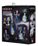 Ultimate Bride of Chucky 2 action figure pack.  Packaged in NECA's signature box, with an opening flap to view the contents. Back flap has custom photo's of Chucky and Tiffany in different poses!